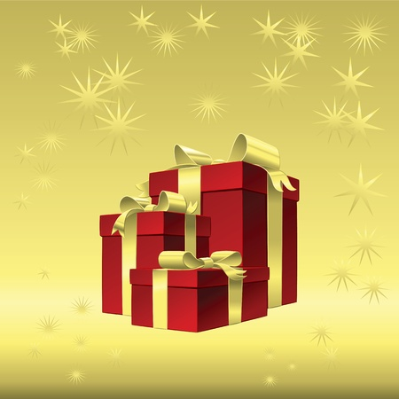 Vector Chrismas gold background - red gift box with gold ribbon bow Stock Vector - 16554236
