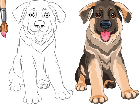 Vector Coloring Book for Children of funny smiling Puppy dog German shepherd breed
