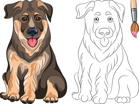 Coloring Book for Children of funny smiling Puppy dog German shepherd breed Vector