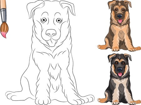 shepherds: Coloring Book for Children of funny smiling Puppy dog German shepherd breed Illustration