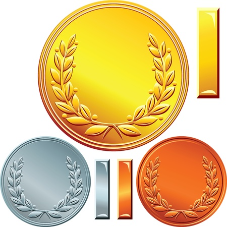 gold, silver and bronze coins or medals for winning the competition with the image of a laurel wreath  Vector