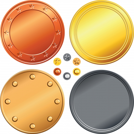 Set of gold, silver, bronze money coins. Vector