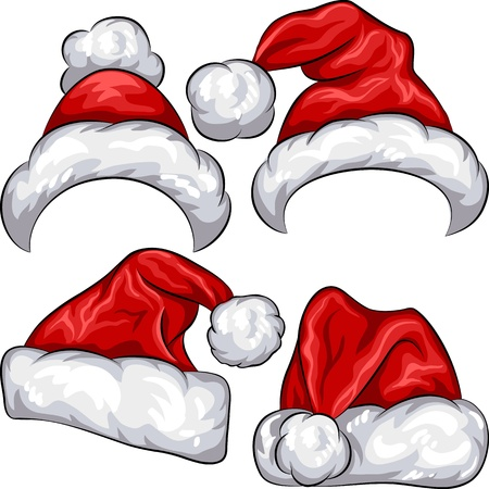 red Christmas Santa Claus hats isolated on white background