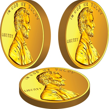 American gold money, one cent coin with the image of the Lincoln in three different angles Vector