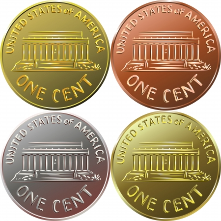 copper coin: American gold money, one cent coin with the image of the Lincoln Memorial, four color options Illustration