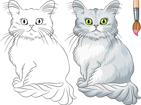 Vector Coloring Book for Children of funny Asian Semi-Longhair cat (Tiffany)