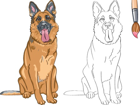 Coloring Book for Children of funny smiling dog German shepherd breed Illustration