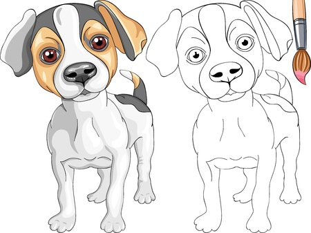 Coloring Book for Children of funny smiling Puppy dog Jack Russell Terrier breed