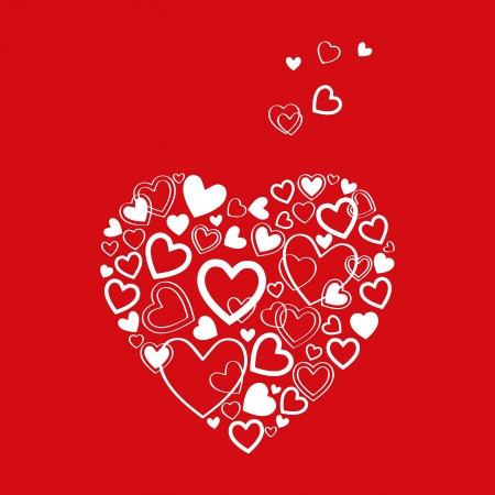 red Valentines Day Card with beautiful white hearts Vector