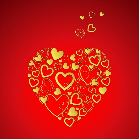 red Valentine's Day Card with beautiful gold hearts Stock Vector - 16878996