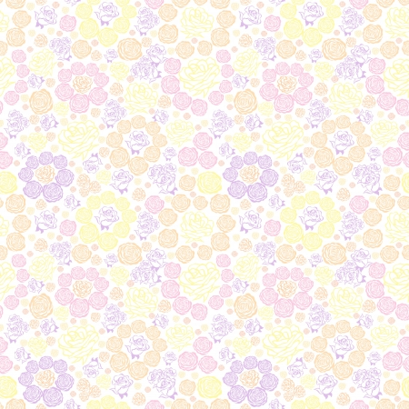 seamless floral pattern with pastel flowers roses Stock Vector - 16912357