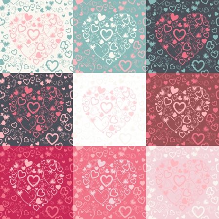 stylish Valentines Day seamless pattern with colorful hearts in different color options