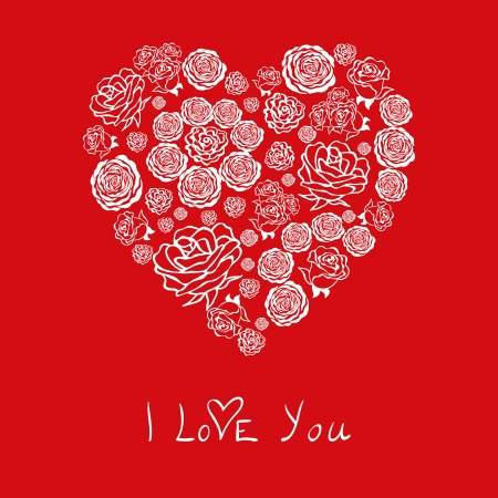 Red Valentines Day Card With Beautiful White Hearts Of Flowers – Beautiful Valentines Day Cards