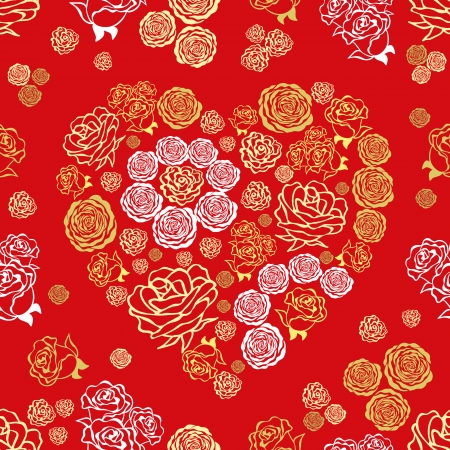 roses and hearts: red Valentines Day seamless pattern with colorful hearts of rlower roses