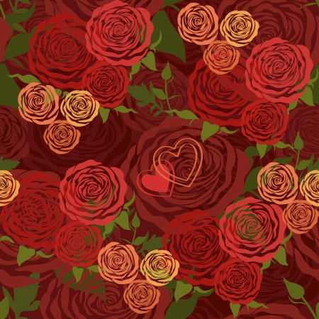 red Valentine's Day floral seamless pattern with flower roses Stock Vector - 16981251