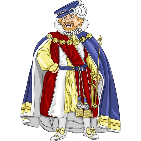 nobility: funny fairytale cartoon king in ceremonial robes smiles Illustration