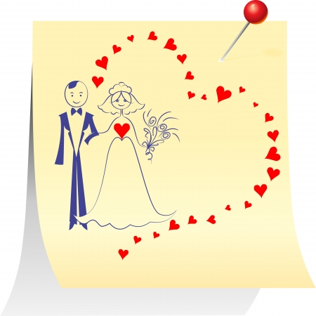Wedding card  Sketch a picture with the bride and groom on a sheet pinned clerical pin Stock Vector - 17053251