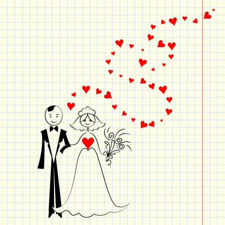 Wedding card  Sketch a picture with the bride and groom at the school a piece of scrap Stock Vector - 17053250