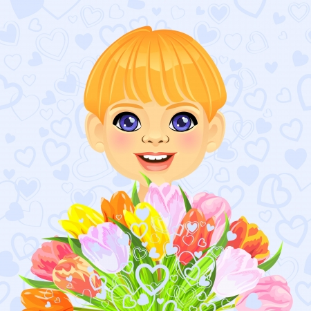 pink valentine card with a smilingl little boy with a big bouquet of flowers tulips on the background of hearts Stock Vector - 17192169