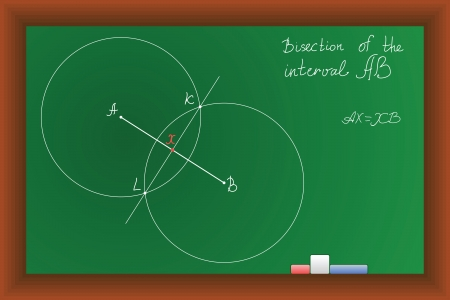 tertiary: vector green Blackboard with the task of bisection of the interval Illustration