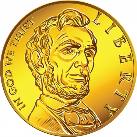 American money, one cent gold coin with the image of the Lincoln  Illustration