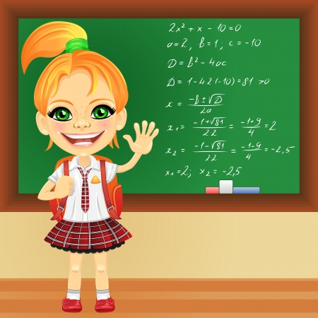 school girl uniform: smiling happy red-haired girl in a school uniform with a school backpack near blackboard