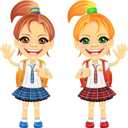 smiling happy chestnut and redhead girls in a school uniform with a school bag