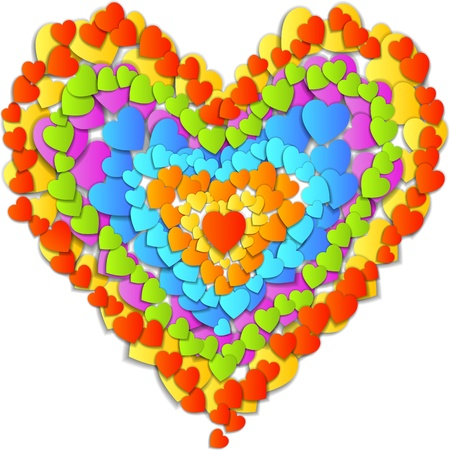 Valentine's Day Card with beautiful big heart made of small rainbow hearts Stock Vector - 17377305