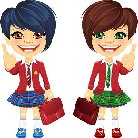 school girl uniform: sorridendo felice brunette ragazze in una giacca rossa scuola con un sacchetto di scuola