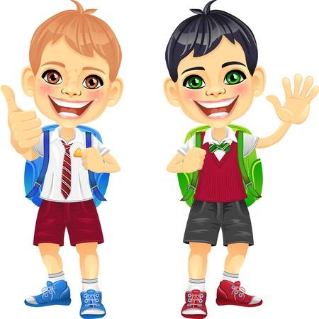 zaino scuola: Vector sorridente felice scolari bruna e marrone in un uniforme scolastica con uno zaino scuola