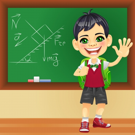 Vector smiling happy boy in a school uniform with a school backpack near blackboard Vector