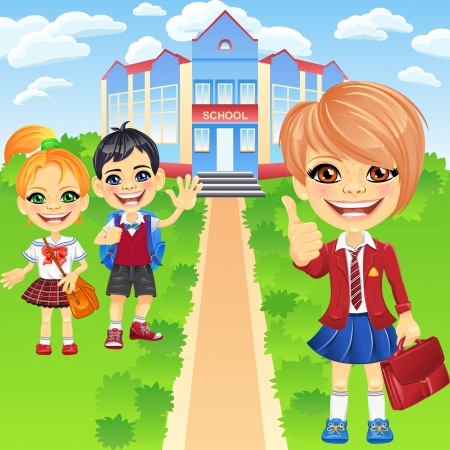 school girl uniform: Smiling happy schoolgirls and schoolboy in a school uniform with a bags near the school