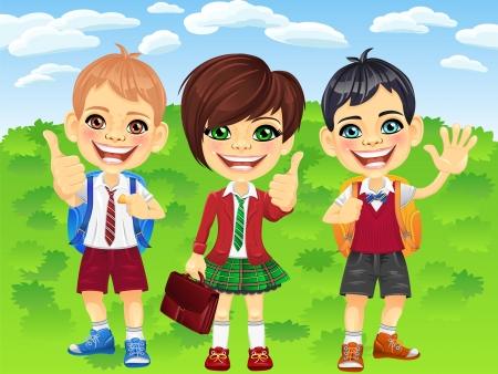 smiling happy schoolchildren girl and boys in a school uniform with a school backpack  Vector