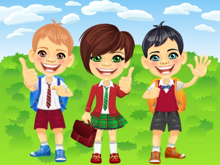 school girl uniform: smiling happy schoolchildren girl and boys in a school uniform with a school backpack