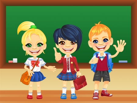 smiling happy schoolchildren girls and boy in a school uniform with a school backpack near blackboard Vector