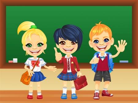 zaino scuola: Sorridendo felice ragazze scolari ed il ragazzo in uniforme della scuola con uno zaino scuola vicino lavagna