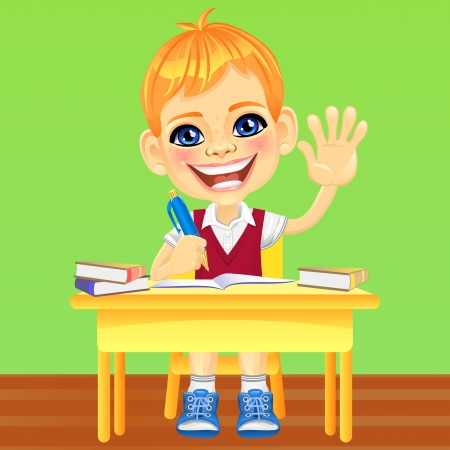 Smiling happy schoolboy in a school uniform sitting at a school desk Vector