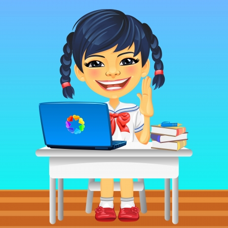 Smiling happy Asian schoolgirl in a school uniform sitting at a school desk Vector