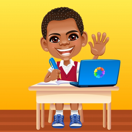 Smiling happy African schoolboy in a school uniform sitting at a school desk with laptop Vector