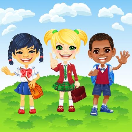 cartoon school girl: Sonriendo ni�as escolares felices y un ni�o de diferentes nacionalidades en un uniforme de la escuela con una mochila escolar Vectores