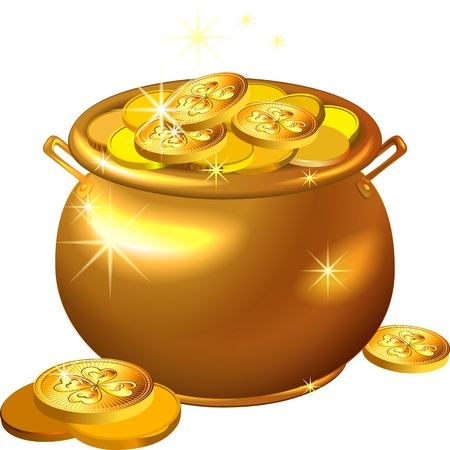 vector St. Patrick Day shiny gold pot filled with leprechaun coins isolated on the white background