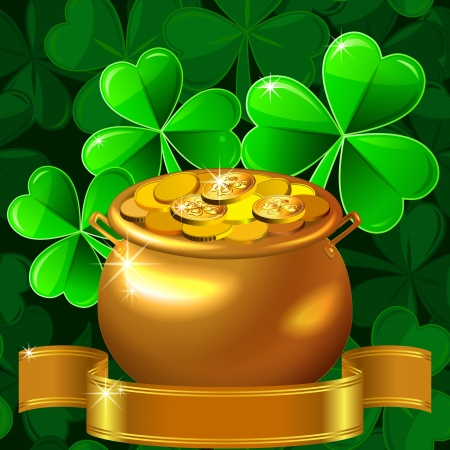 vector card for St. Patrick Day with a beautiful clover and gold pot with coins on a green background Stock Vector - 17806781
