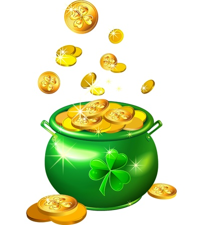 leprechaun: vector St. Patrick`s Day shiny green pot filled with leprechaun gold coins isolated on the white background Illustration