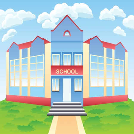 Vector cartoon red and blue modern school  building