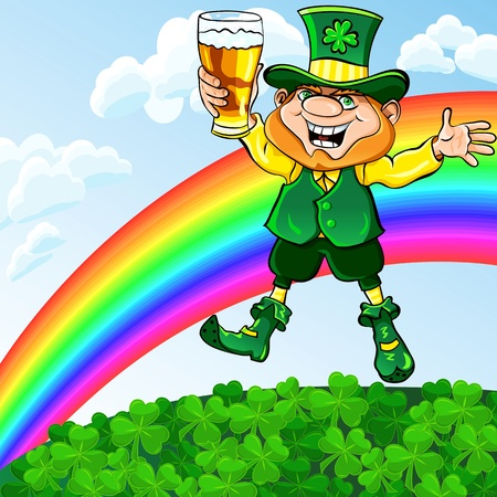 vector St. Patrick Day happy leprechaun dancing with a glass of beer on a meadow under a rainbow Stock Vector - 17806786