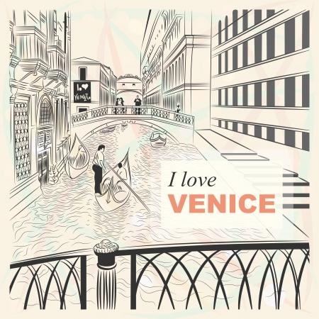 gondola: sketch of a landscape the Bridge of Sighs in Venice in sketch-style Illustration