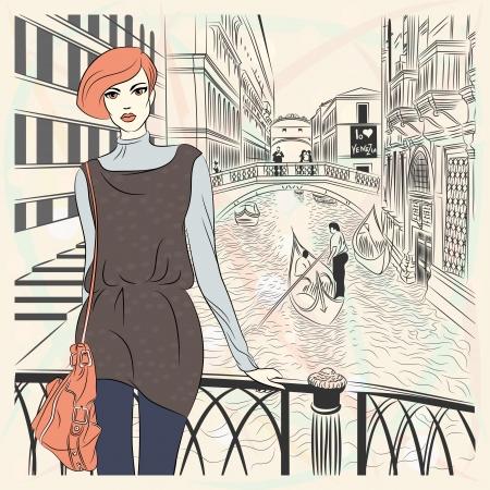 Schöne Mode Mädchen in Sketch-Stil auf einem Venice Hintergrund Illustration