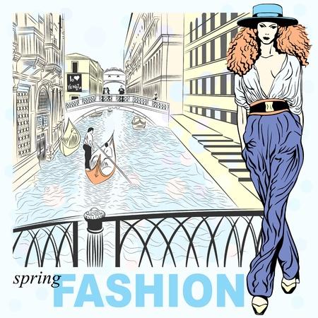 Schönen Frühling fashion girl in Sketch-Stil auf einem Venice Hintergrund