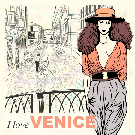 retro fashion: Lovely fashion girl in orange hat in sketch-style on a Venice background