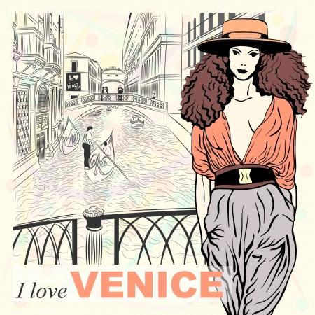 reise retro: Schöne Mode Mädchen in orange Hut in Sketch-Stil auf einem Venice Hintergrund